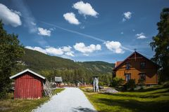 Ancient fisherman's wooden huts in ethnic park, Norway Royalty Free Stock Images