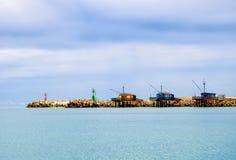 Ancient fishing huts trabocchi. Royalty Free Stock Photography