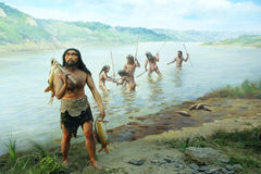 Ancient fishing scene Stock Photography
