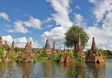 Ancient flooded pagodas Stock Photography