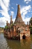 Ancient flooded pagodas Royalty Free Stock Images