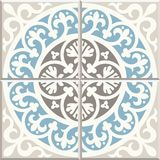 Ancient floor ceramic tiles. Victorian English floor tiling design, seamless vector pattern vector illustration