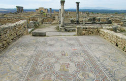 Ancient floor mosaic in antique ruins Royalty Free Stock Images
