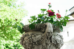 Ancient flower pot holder made from brute stone - very old sculpture with scarry face - gothic style. Ancient flower pot holder made from brute stone - very old royalty free stock photography