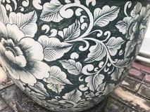 Ancient flowerpot. Ancient flowerpot on the floor stock photo