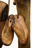 Old cobbler`s craft. Ancient form of wood for the construction of shoes by the artisan shoemaker stock photo
