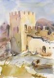 Ancient fort. In Sudak (Crimea, Ukraine). Watercolor Stock Photography