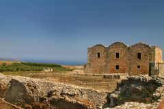 Ancient Fort Aptera. Ancient construction of a fort in the venetian style at Aptera in Crete Stock Photos