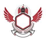 Ancient Fort emblem. Heraldic Coat of Arms decorative logo with Stock Photos