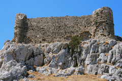 Ancient fort on Rhodes. Remains of ancient castle on cape Falakros. Rhodes, Greece Stock Photo