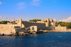 An ancient fortification round an old city.Rhodes. Stock Photos