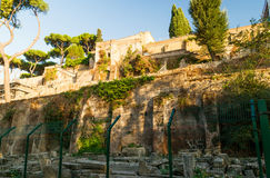 Ancient fortifications on the Aventine Hill in Rome Royalty Free Stock Photo