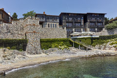 Ancient fortifications and old town at embankment of Sozopol, Bulgaria Stock Photography