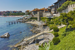 Ancient fortifications and panoramic view of Sozopol town, Bulgaria Royalty Free Stock Photography
