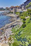Ancient fortifications and Panoramic view of Sozopol town, Bulgaria Royalty Free Stock Photos
