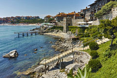 Ancient fortifications and Panoramic view of Sozopol town, Bulgaria Stock Photo
