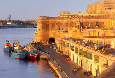 Ancient fortifications of Valletta at dawn. Malta. Royalty Free Stock Photo