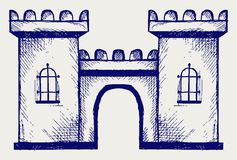 Ancient fortress. Doodle style. Vector sketch Royalty Free Stock Photo