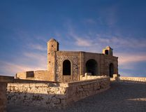 Ancient fortress at sunset in Essaouira, Morocco Stock Images
