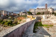 Ancient fortress in Bastia, on the island of Corsica, France. Tr. Avel to Europe, the Mediterranean Sea Stock Images