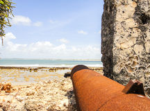 Ancient fortress and cannon in Lamu. Kenya Stock Image