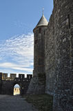 An ancient fortress in Carcassonne. France Stock Images