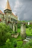 Ancient fortress-castle in Romania against cloudy sky. Stock Photography