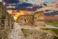 Ancient fortress. Citadel Belgorod-Dniester fortress 13-15 century at sunset, Ukraine stock photos