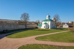Ancient fortress in the city of Izborsk, Pskov region, Russia. Temples on the territory. In spring time stock photos