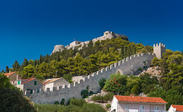 Ancient fortress at Hvar island, Croatia. Ancient fortress at Hvar island over town (citadel), popular touristic attraction of Adriatic coast, Croatia Royalty Free Stock Images