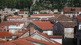 Ancient fortress at Hvar island over town citadel stock video footage