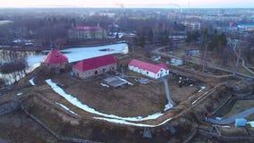 Ancient fortress Korela, April evening aerial video. Priozersk, Russia. Ancient fortress Korela close-up, April evening aerial video. Priozersk, Russia stock video