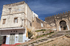 Ancient fortress and living houses. Madina, old part of Tangier, Stock Photo