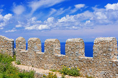 Ancient fortress on mountain in Cefalu city on Sicily island Stock Images