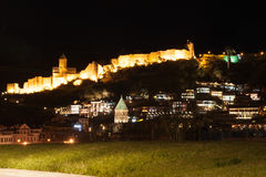 Ancient fortress on a mountain in the night Royalty Free Stock Photo