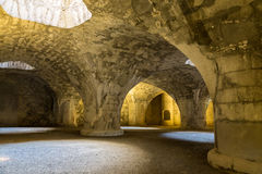 Ancient fortress  Munot. Interior. Schaffhausen. Switzerland . Ancient fortress of Munot. Interior. Stone arches illuminated by the sun. The historic city of Stock Photography