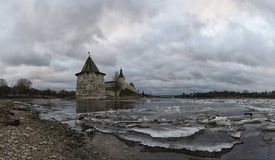 Ancient fortress on the river bank. Russia. Pskov Kremlin Stock Image