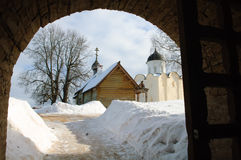 Ancient  fortress Staraya Ladoga of winter. Royalty Free Stock Photos