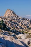 Ancient fortress Uchisar in valley of pigeons stock images