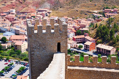 Ancient fortress wall in Albarracin Stock Photos