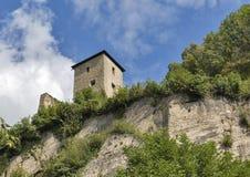 Ancient fortress wall in Salzburg, Austria stock photo