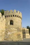 Ancient fortress wall with watchtower in Baku old town