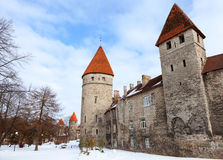 Ancient fortress walls with towers in Tallinn Stock Photo