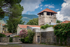 Ancient fortress watch tower in the Tivat old Royalty Free Stock Image