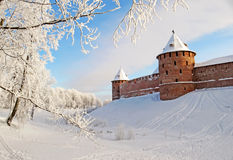 Ancient fortress in winter Royalty Free Stock Photo