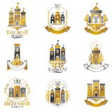 Ancient Fortresses emblems set. Heraldic Coat of Arms, vintage v Royalty Free Stock Photos