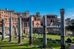 Forum Romanum in Rome in Italy. Ancient Forum Romanum in Rome in Italy at sunny weather stock photos