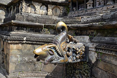 Ancient fountain in Bhaktapur. Nepal. Now destroyed after a mass Royalty Free Stock Photo