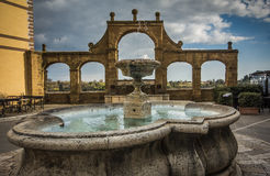 Ancient fountain on the historic center of Pitigliano Stock Photography