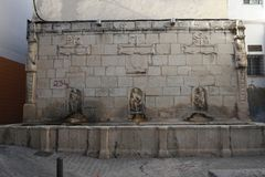Ancient fountain of Jaen in Andalusia Spain. It is one of the best places to see and visit in the city, for the beauty of the fountain and its history Royalty Free Stock Image